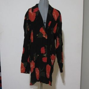 Jackets & Blazers - Vintage Red Floral Printed Long Blazer/Duster